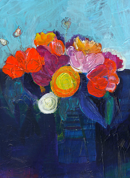 Out of the deep blue of the table it rests on, a brilliantly hued bouquet of flowers explodes in joyous color. Artist Ruth-Anne Siegel uses compositional elements, such as color, line and shape, to create paintings such as Slow Jazz.