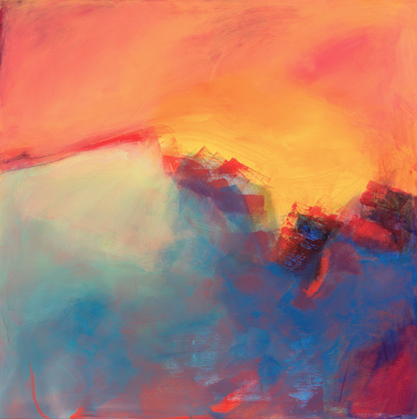 Layers of bright pinks, blues and oranges cover the canvas in this original acrylic abstract painting by Ruth-Anne Siegel. In So Far Away, the artist captures her memories and her impressions of light and color of a particular place.