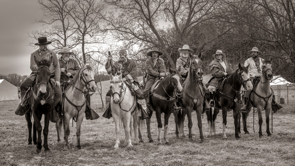 Monochrome Civil War Reenactors Art Print on metal, canvas or paper, fleblanc