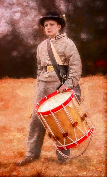 Civil War Drummer Boy Drum Painting|Wall Decor fleblanc