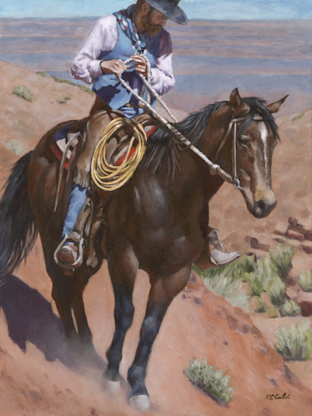 Realistic western paintings for sale. Browse original art of cowboys horses western boots that can purchased as custom prints on canvas, paper, metal or buy original art from Orlando artist KC Cali.