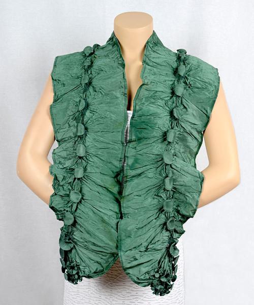 Long green silk shibori scarf
