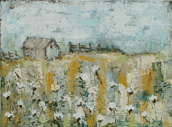 Cotton Farm Painting by Kelly Berkey