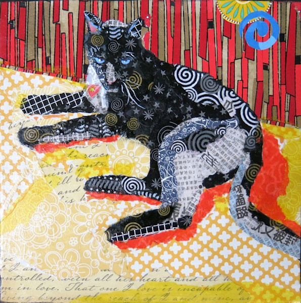 This handsome panther stares out at the viewer in Old Blue Eyes by artist Raven Skye McDonough. His fur is resplendent in silver, gold and black patterns -- stars, swirls and more -- and his beautiful blue eyes steal the show.