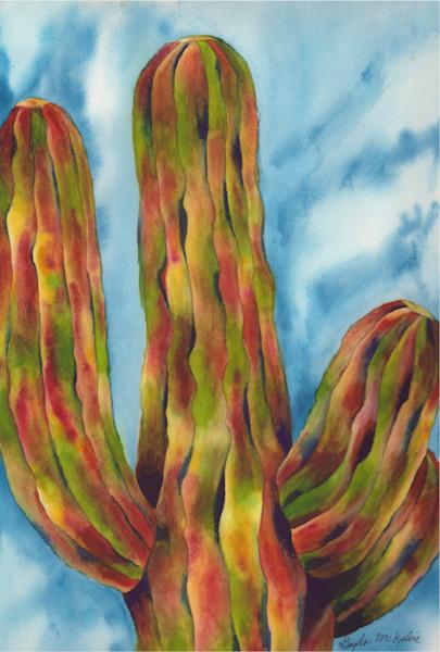 The Grande and Towering Saguaro Cactus--Watercolor Art & Paintings for sale by Gayela Chapman-McKelvie, Gayela's Premiere Watercolors|Main Store