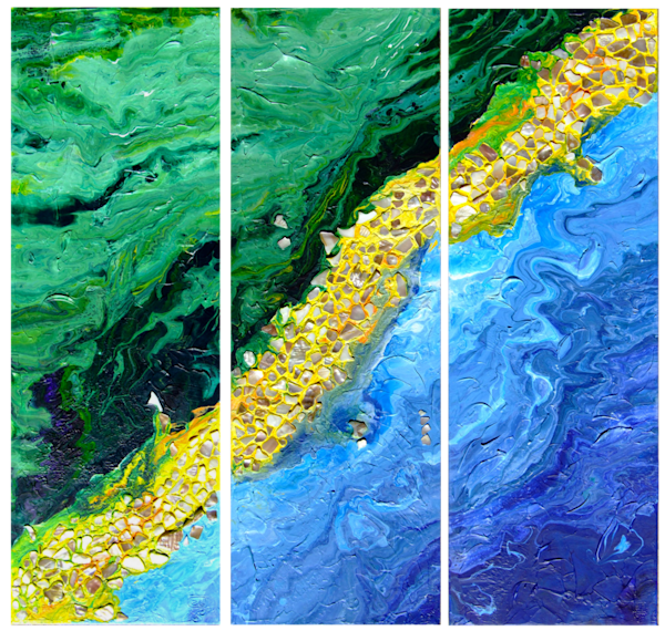 Triptych Abstract Mixed Media Painting of Blue Green and Yellow, Texture, Fluid Acrylic