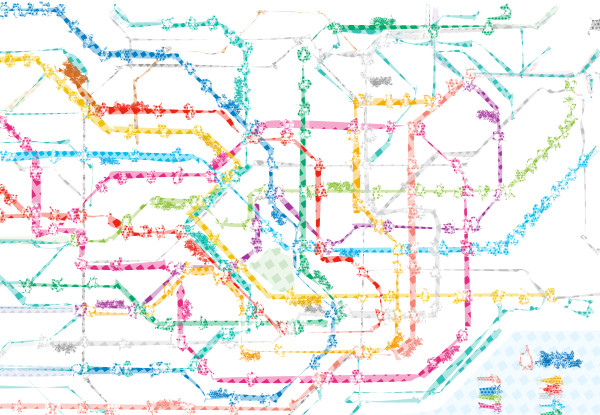 Artwork map of Tokyo subway system