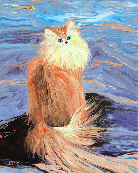 Abstract Cat Painting, Pacifism the Calmness and Peaceful Cat