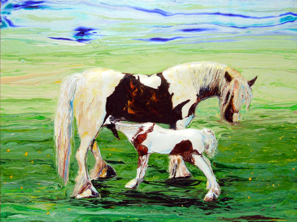 Abstract Relief Art of Mare and Foal, Rescued Horses