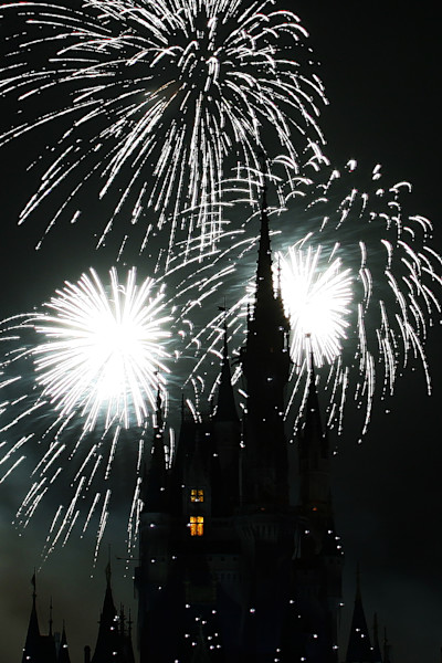 Dark and Mysterious Disney Fireworks Photograph for Sale as Fine Art