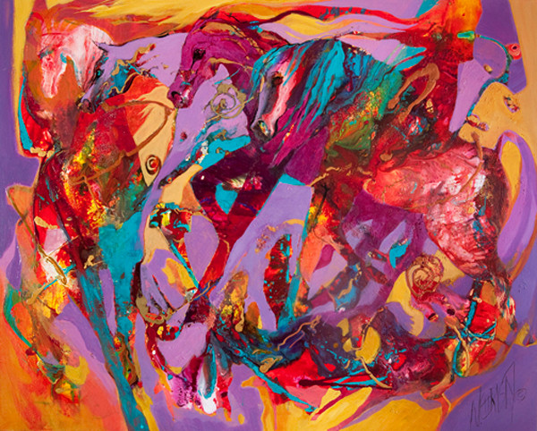 original abstract acrylic/mixed media horse painting on gallery-wrap canvas
