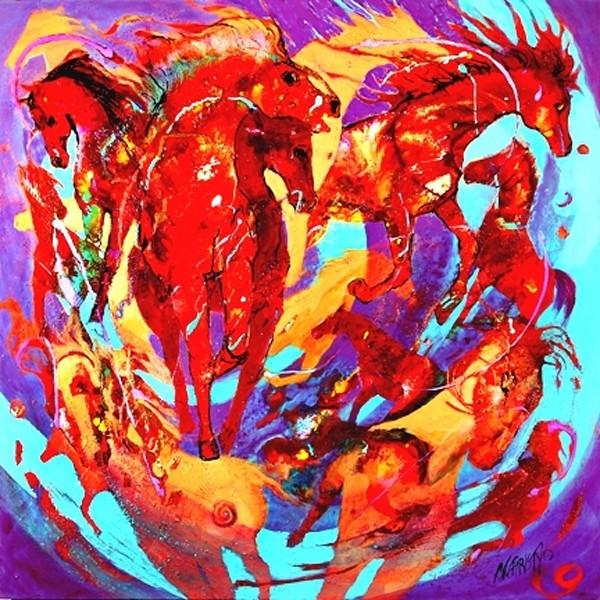 abstract horse painting, several horses, hot colors, circular movement