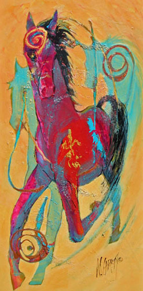 Abstract original contemporary horse painting on canvas