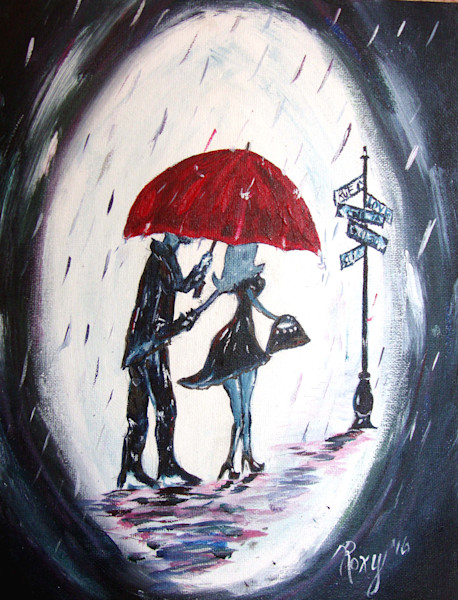 Original Romantic Oil Paintings of Couples in Paris, under Umbrellas, and in love by artist Roxy Rich