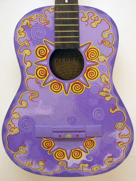 Lavender Dream recycled guitar painting