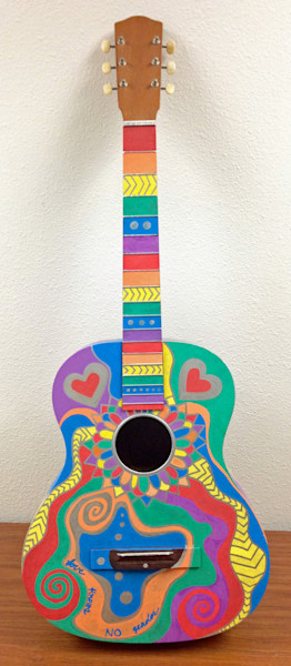 Love Knows No Gender recycled guitar painting