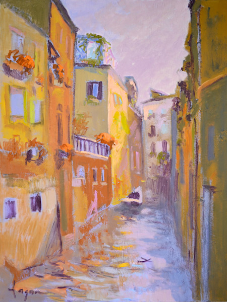 Venice Oil Paintings & Canvas Prints by Dorothy Fagan | Balcony Gardens, Sunset Reflections