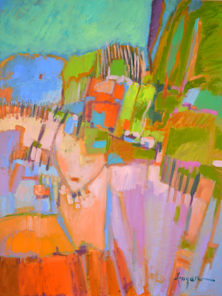 Colorful Abstract Landscape with Goddess Painting, Art Print on Canvas or Watercolor Paper, Goddess Rising by Dorothy Fagan