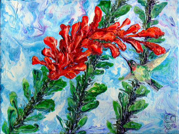 Abstract Art of Hummingbird and Ocotillo Blossoms