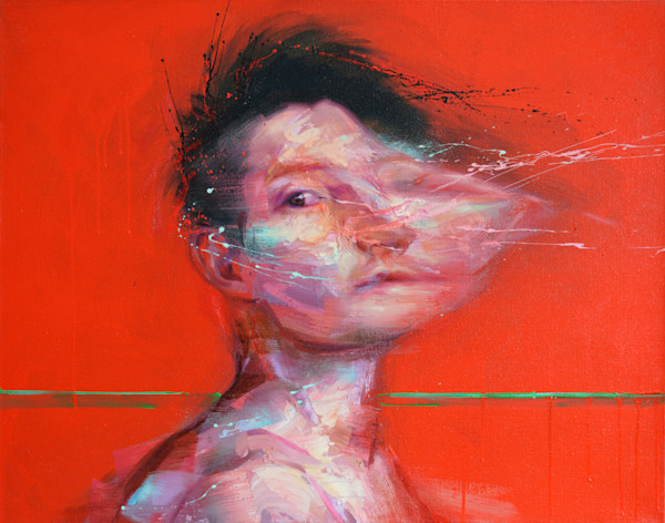 Portrait on red background by painter Mathieu Laca. Prints available.