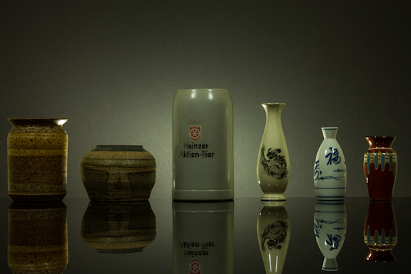 Fine Art Photographs of a Mugs and Vases Reflections on Black Plexi by Michael Pucciarelli