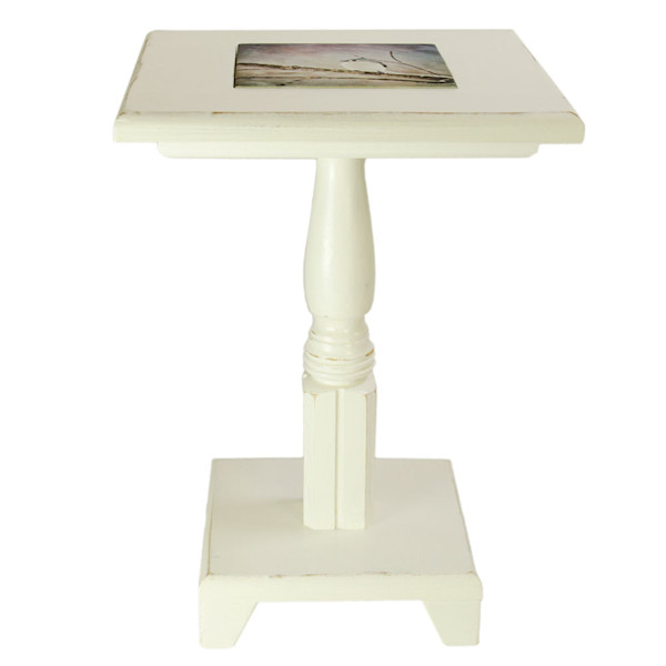 Distressed White Cocktail Table with removable tile inlay