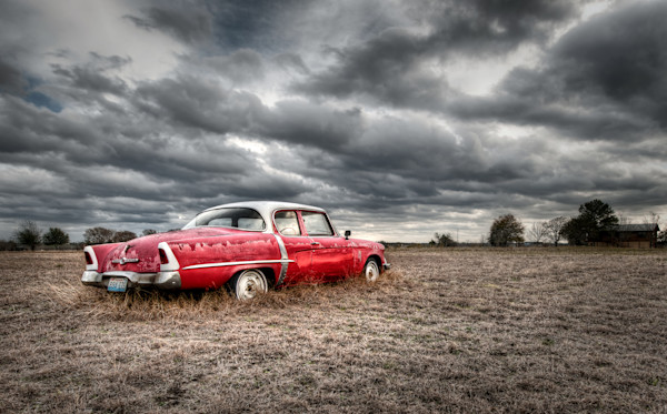 Classic Red Studebaker with an attitude - Dramatic Storm