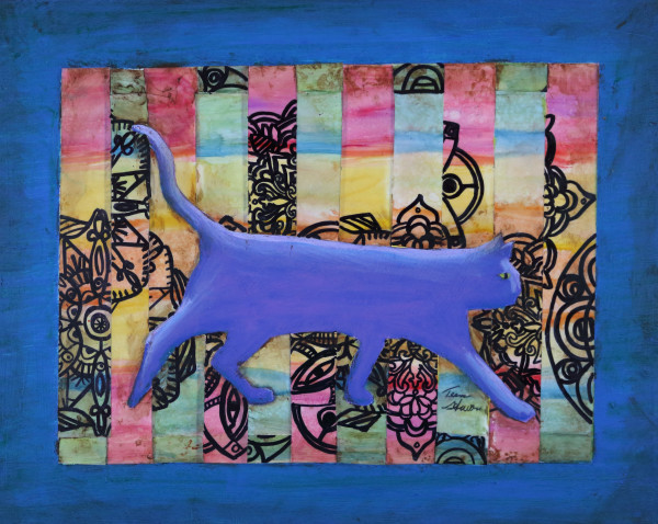 Purple-Cat,  Painting of a Purple Cat, Fine Art and Paintings for Sale by Teena Stewart of Serendipitini Studio