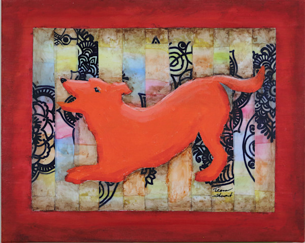 Orange Dog, Mixed Media painting, Art for Sale by Teena Stewart
