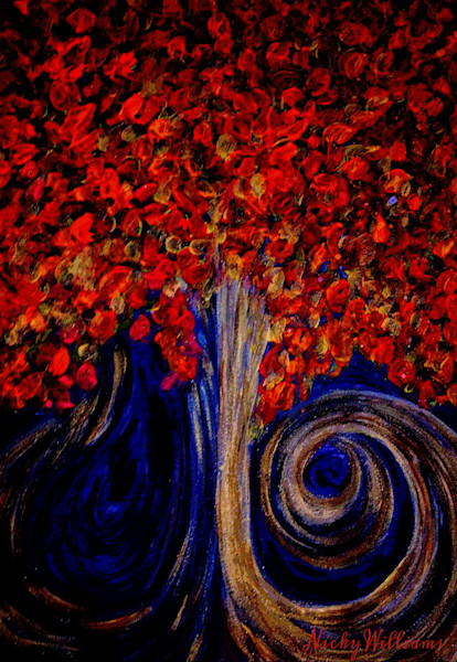 """Red Tree On A Dark Night"" by Nicky Williams Prophetics Gallery"