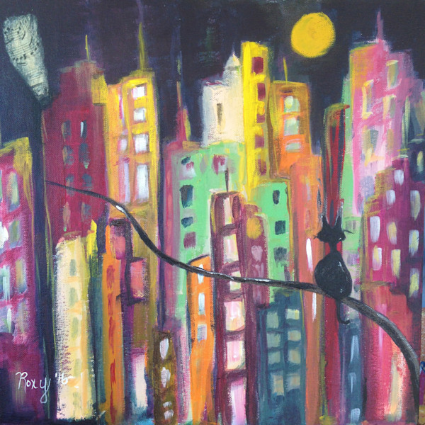 Skyscrapers, cats, kitty painting, whimsical cat, city