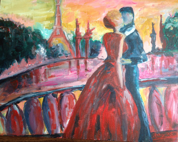 Paris Lovers Kissing