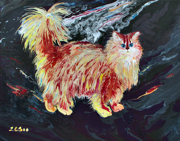 Semi-Abstract Cat Painting, Gladsome-Anyhow, Original Painting for Sale