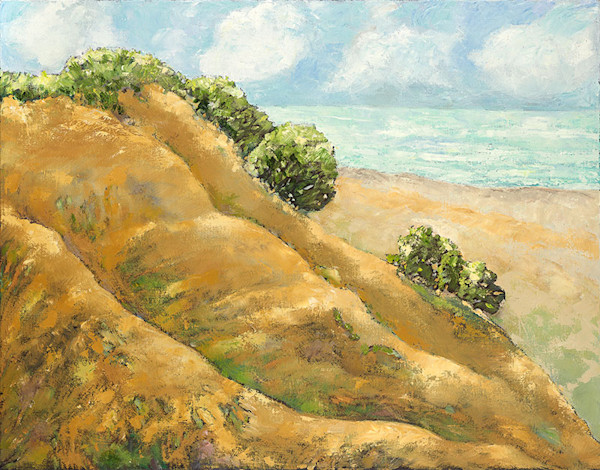 Dunes on the shore oil painting by Lenny Nagler.