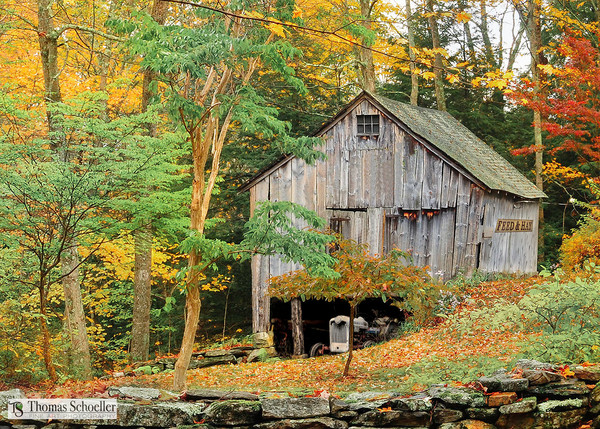 Rustic Hidden Barn fine art photography prints/Charming New England countryside decor prints by Tom Schoeller