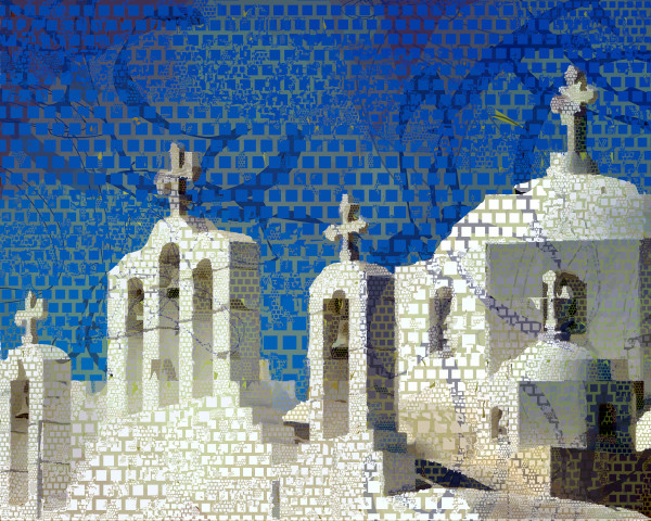 Cyclades Santorini art, architecture, prints by Peter McClard  at VectorArtLabs.com