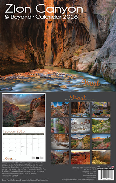 Zion Canyon and Beyond Calendar 2018