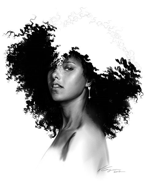 Alicia Keys - Fine Art by Vahe Grigorian Los Angeles Artist - Digital Prints available for Paper, Canvas, Metal and more.