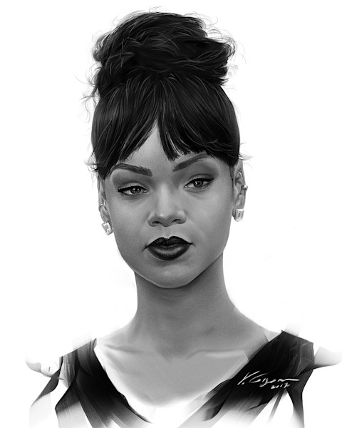 Rihanna - Fine Art by Vahe Grigorian Los Angeles Artist - Digital Prints available for Paper, Canvas, Metal and more.
