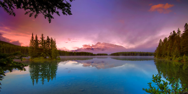 Two jack Lake & Mt. Rundle. Banff National Park|Canadian Rockies|Rocky Mountains|
