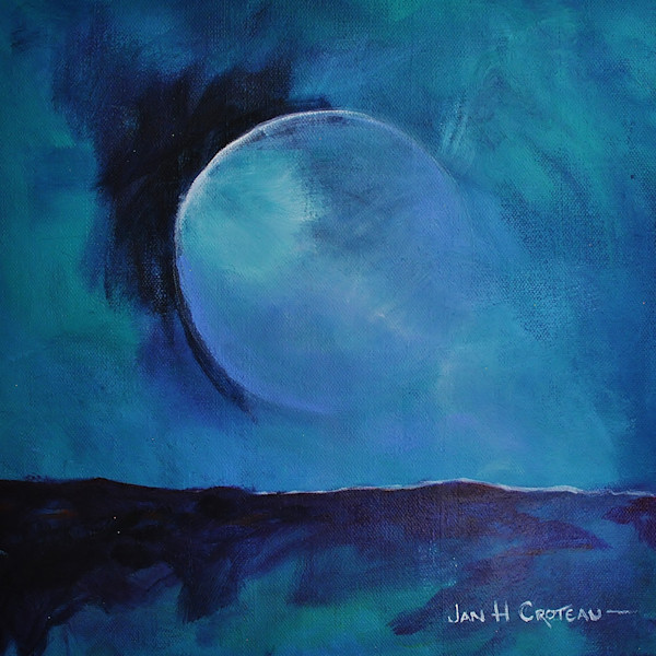 Distant Moon: teal and deep blues, full moon over the horizon