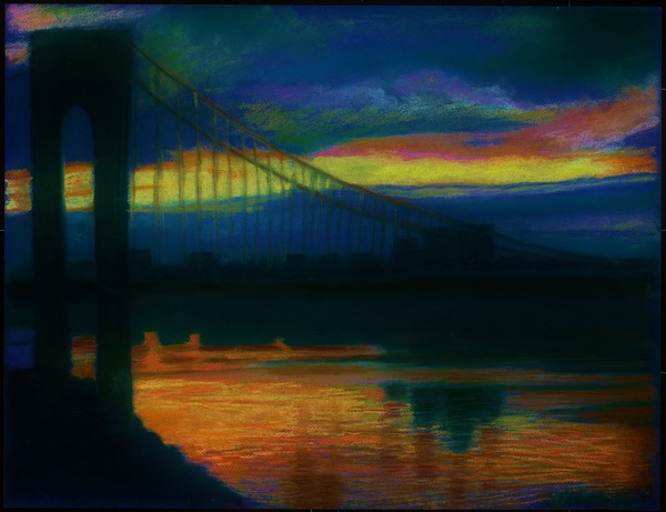 THE DARK BLUE SUNSET OVER THE GEORGE WASHINGTON BRIDGE