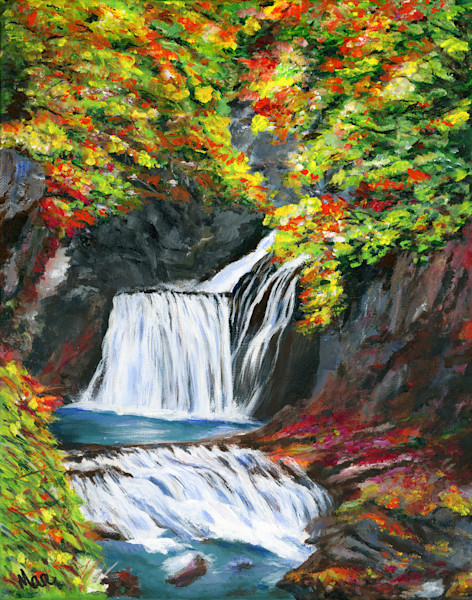 "Original artwork painted in acrylic titled ""Waterfall Wrapped in Color"" by artist Mary Anne Hjelmfelt"