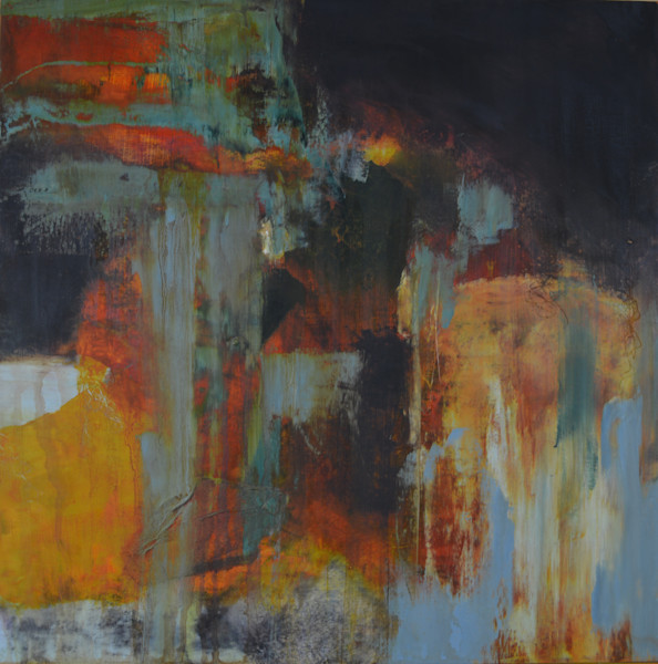 Abstract oil painting with deep earthy tones built of layers to create depth and interest.
