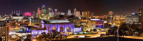 Kansas City Downtown Nightscape Panorama  Photograph for sale as art.