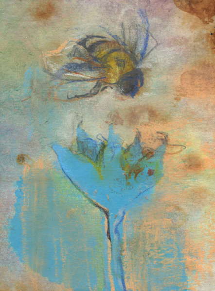 bee with blue flower mika holtzinger