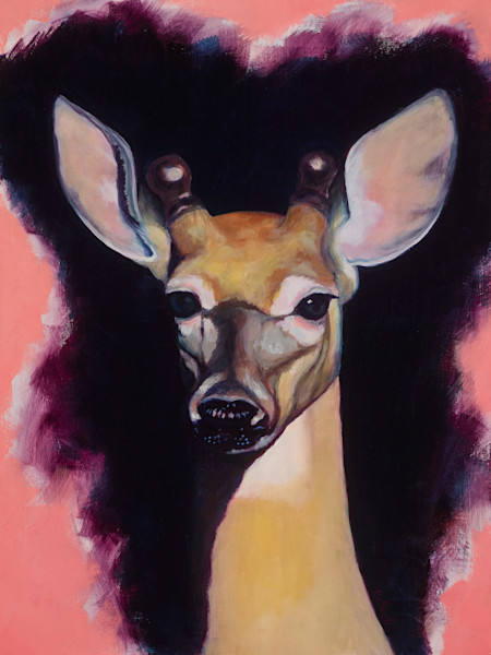 deer, portrait, oil-on-wood, oil-painting, original