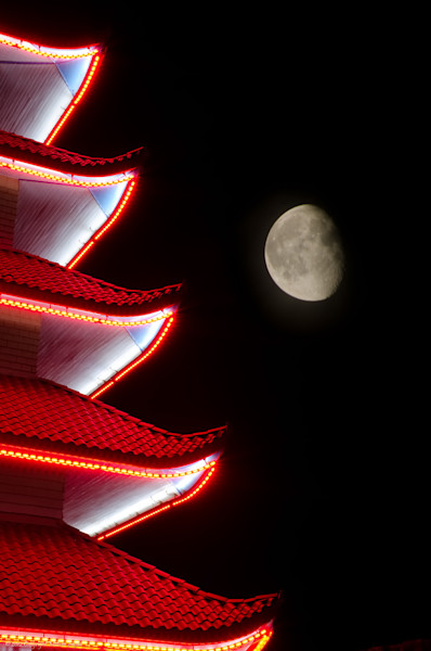 Moon over Pagoda 1 Limited Edition Signed Fine Art Night Abstract Photograph by Melissa Fague
