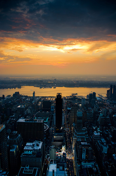 Sunset over NYC Limited Edition Signed Fine Art Night Abstract Photograph by Melissa Fague