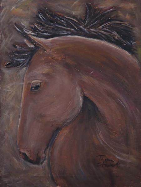 Bay-Horse-Head, Painting of  Horse, Art for Sale by Teena Stewart